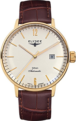 ELYSEE Made in Germany Sithon Automatik 13281 42mm Automatic Gold Plated Stainless Steel Case Brown Calfskin Mineral Men's Watch