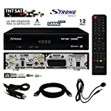Pack Récepteur Strong SRT 7404 HD + Carte Viaccess TNTSAT + Câble HDMi + Cordon 12V + Déport IR