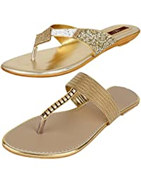 AUTHENTIC VOGUE Women's Combo Pack of 2 Golden Colour Flat Slip On Sandal (Combo Pack of 2)