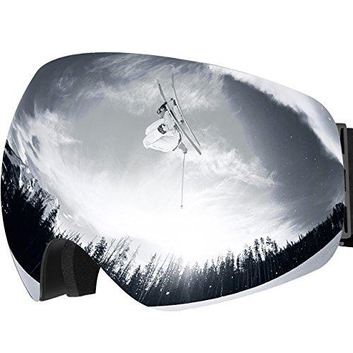 Omorc maschera da sci, occhiali da snowboard, super-grandangolo lente sferica a doppia strato, nessun appanamento trattamento di protezione uv400, per donna e uomo, per sport invernali, grigio