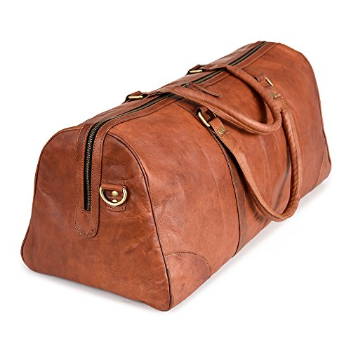 Weekender BERLINER BAGS Meran XL Leder Reisetasche 40l Qualität Vintage Design Damen Herren Braun Groß 60 cm