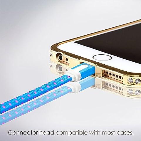 Cable Lightning para Apple iPhone 6s/6/5, iPad, iPod - 3m, Azul, Plano - Cordon Cargador de Carga y Sincronización de datos - USB Syncwire de SWISS-QA - Devolución del Dinero Garantizad