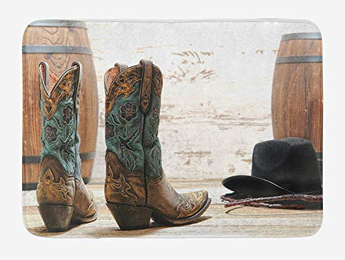 Bath Mat American Rodeo Theme Cowgirl Design Leather Boots Fancy Hat Rustic Picture Plush Bathroom Decor Mat with Non Slip Backing Brown Teal Black (23.6