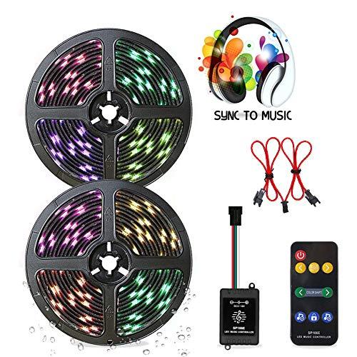 ZRR LED Streifen 10M, 300 LED RGB LED Bänder IP65 Wasserdicht Flexibles LED Lichtband mit 9 Tasten IR Fernbedienung 12V 5A Netzteil für Decke Bar Schrank Terrasse Balkon Party und Haus Deko