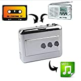 LeaningTech Cassette Player Portable Tape Player Captures MP3 Audio Music via USB, Compatible with Laptops and PC immagine