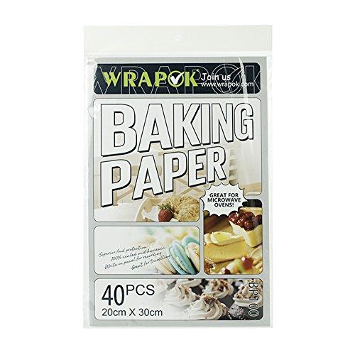 WRAPOK Antihaft Backen Plätzchen Blätter Vorschnitt Pergament Papier Pan Liner für Kochen Kuchen Küchen 8 x 12 Zoll 40 Stück