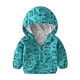 Dinokids baby-Junges Leichte Printed Jacke Schnelltrocknend Kleine Zipper Jacken windundurchlässiges Mantel mit Kapuze 110cm 4-5t Grün Auto