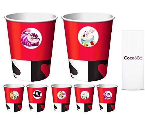 5x Coco & Bo–Königin der Herzen Party Cups–Alice in Wonderland Mad Hatters Tea Party Tischdekorationen (Mad Hatter Tea Cup)