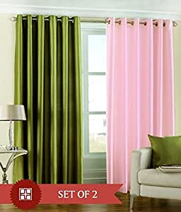 Decoholic Set of 4 Piece Premium Solid Fancy Elegant Ringtop Plain Eyelet 6ft Window Curtains - Green & Baby Pink