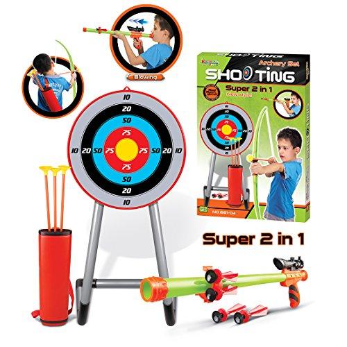 Tosbess Arc et de flèches Tir à l'arc Set -Jeux et Jouet -Ensemble flèches et Jeu de tir à l'Arc pour Enfants de Plus de 6 Ans