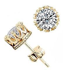 Idea Regalo - Gemini_Mall, orecchini a lobo con diamanti a forma di corona, eleganti e scintillanti, Gold + Silver, taglia unica