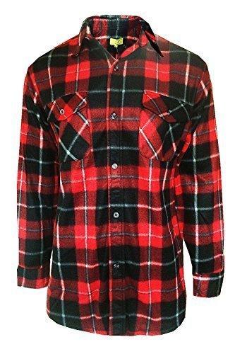 Uomo pile camicia a quadri bruno galli nuovo lumberjack top caldo casual abbigliamento da lavoro - sintetico, rosso, 100% poliestere, uomo, s.