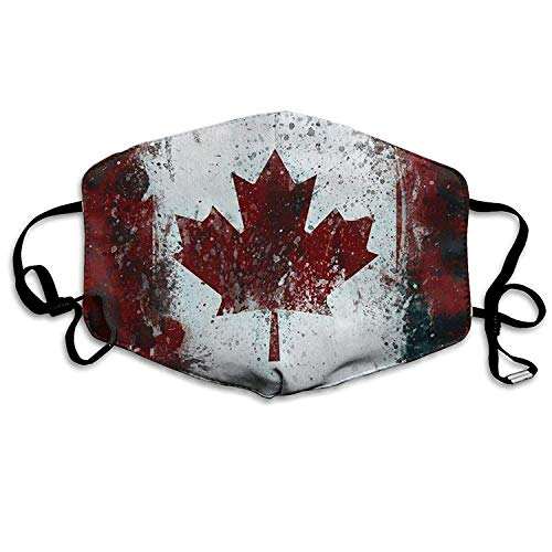 Mouth Mask with Design, Canada Flag Maple Leaves Fashion Earloop Face Masks, Anti-Dust Anti Flu Pollenm Germs Bacteria Virus Smog Face and Nose Cover with Adjustable Elastic Strap, Medical Mask