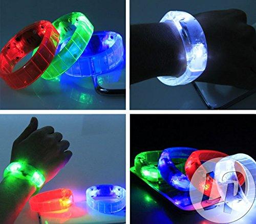 Geraeusch aktiviertes LED LEUCHT Armband Sound Activated Bracelet (Weiss) (Armband Aktiviert Sound)