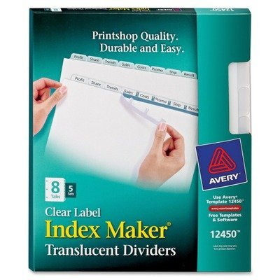 Avery - Index Label Dividers, Plastic, 8-Tab, 3HP Punched, Clear, Sold as 1 P... by Avery??