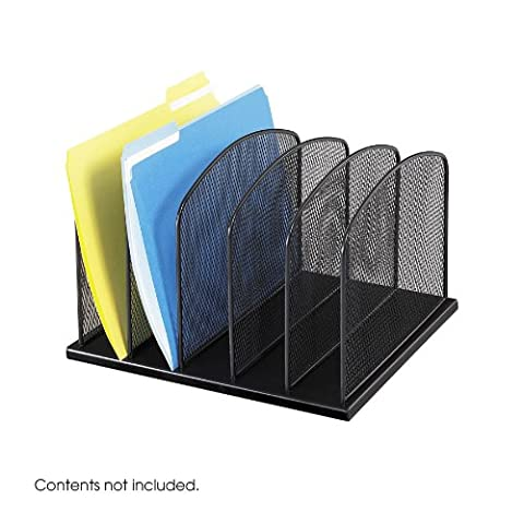 Safco Onyx Mesh Desk Organizer with 5 Upright Sections - Black