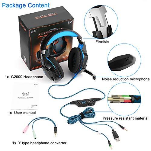 Gaming Kopfhörer für PS 4 PC Computer Professioneller 3,5mm Gaming Headset Stereo Sound Mikrofon mit Rauschunterdrückung und Lautstärkeregler Egonomisches Design, geringes Gewicht (Blau) - 9