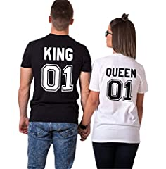 Idea Regalo - Couple King Shirt Queen San Valentino 100% Cotone T-Shirt Manica Corta Stampa 01 Maglietta Coppia Regalo di Lovers per Donna Uomo(Nero+Bianco,M+M)
