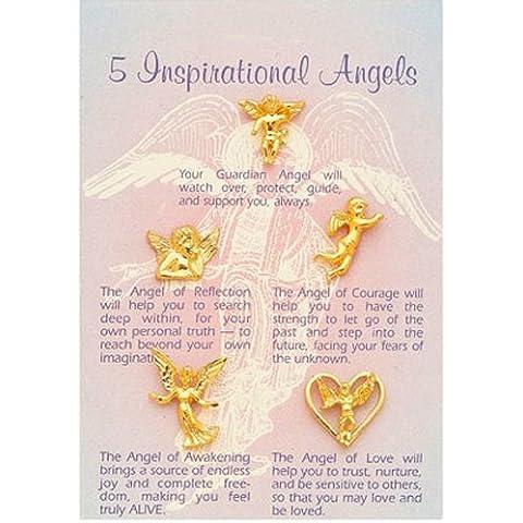 Ángeles guardianes–5inspirado ángel broches + Tarjeta de oración)
