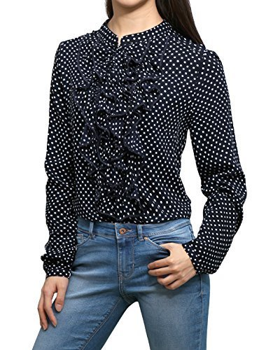 allegra-k-femme-a-pois-impressions-a-volants-front-demi-bouton-patte-de-boutonnage-blouse-bleu-xl-eu