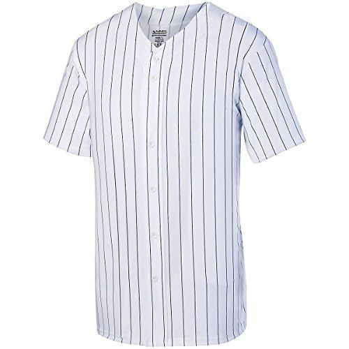 Augusta Herren Nadelstreifen Full Button Baseball Jersey Medium Weiß/Navy