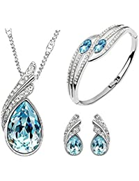 I Jewels Valentine's Special Combo Silver Plated Designer Bracelet & Pendant Set with Chain for Women (CH20)