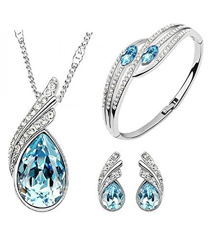 I Jewels Combo Silver Plated Designer Bracelet & Pendant Set with Chain for Women (CH20)