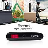 FREETOO Luggage Scales Portable Travel Digital Suitcase Scale with Hang Weight 110lb/50KG Capacity for Travel Outdoor Home Black