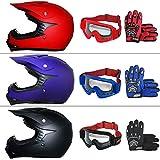 Leopard LEO-X15 *ECE 2205 Genehmigt* Kinder Motocross MX Helm Motorradhelm Crosshelm Kinderquad Off Road Enduro Sport + Handschuhe + Brille - Matt Blau XL (55cm)