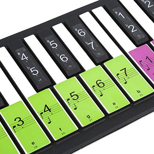 Piano Noten Aufkleber für 88 Tasten, Abnehmbarer Aufkleber für Weiß und Schwarze Schlüssel für Anfänger Lernen(Mehrfarbig) - Piano Schlüssel Aufkleber Für