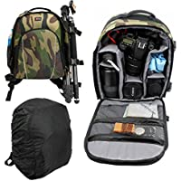 Camouflage Print, Water-Resistant DSLR Camera Rucksack / Backpack with Customizable Interior & Raincover for DSLR / Action / Compact Cameras and Accessories - by DURAGADGET