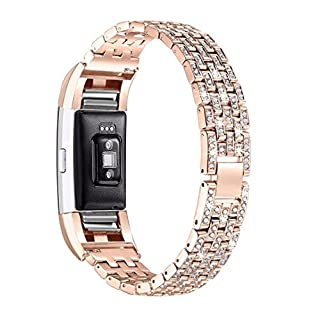 AutumnFall Fitbit Charge 2 Watch Band,Luxury Crystal Stainless Steel Metal Wristband Strap Band for Fitbit Charge 2 Smart Watch (Rose Gold)