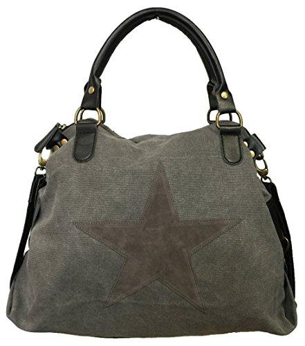 STERN Star Damen Tasche Canvas Stoff Fashion Shopper Henkeltasche Schultertasche (Grau) - Star Canvas-tasche