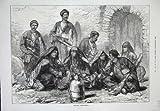 1873 Georgische Bergsteiger-Mann-Kostüm-Waffen-Skizze