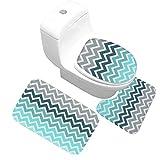 CHEZMAX Set mit Rutschfester Fußabtreter mit Wasser saugfähig und Anti-Schimmel Flanell Deko-Teppich WC-Teppich für Badezimmer, mit Chevron Stripe mit Stollen