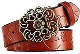 Aivtalk - Mujer Cinturón de Piel Correa Ancha con Hebilla Estilo de Flor Aleación banda con Repujado Waistband para Pantalones Vaqueros - Marrón