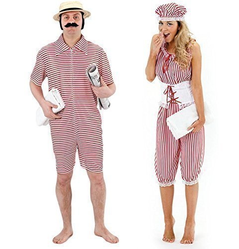 Herren & Damen Paar 1920s Jahre Strand Badeanzug Kostüm Verkleidung Outfit