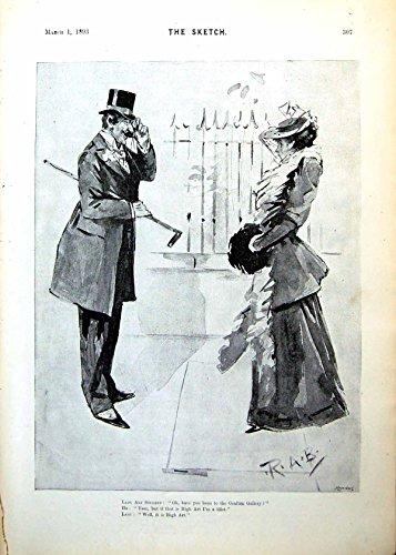 Alta Arte 1893 307G616 della Stampa di Rab del Disegno di Signora Arte dello Studente del Signore Vittoriano Antico Originale Anziano di Discussione - Vittoriano Disegno