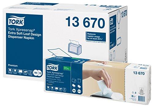 Tork 13670 Xpressnap Extra Soft Spenderserviette in Blätterdesign/Weiße Papierserviette für Serviettenspender N4/8x500 Stück