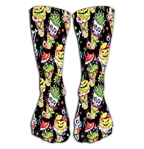 No Soy Como Tu Hohe Socken Outdoor Sports Men Women High Socks Stocking Watercolor Cartoon Cones Skulls Pumpkins Eyes amanitas Halloween Holiday Funny Ice Cream Watermark Tile Length 19.7