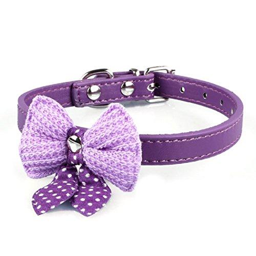 Ularma Haustier Hund Katze Schleife Halsbänder Halskette aus PU Leder Länge Einstellbare (Lila)