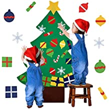 Outgeek Árbol de Navidad en Fieltro, DIY Fieltro Árbol de Navidad Educativo Decoración de Pared