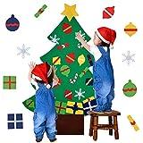outgeek Filz Weihnachtsbaum, 3.2ft DIY Weihnachtsbaum Mit 28 Pcs Ornamente Wand Dekor Mit Seil Für Kinder Home Tür Wand Dekoration (28 Pcs Ornamente)