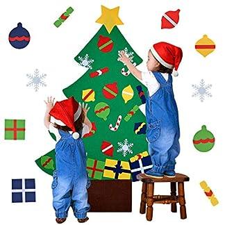 Outgeek Árbol de Navidad en Fieltro, DIY Fieltro Árbol de Navidad Educativo Decoración de Pared de Juguete Adornos de Navidad con Cuerda Colgante para Niños (28PCS Ornamento)