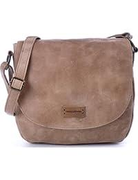 Umhängetasche aus Naturleder - Damen Handtasche mit Schnellverschluss - Schultertasche 26 x 22 x 8 cm - vintage Saddle Bag von MASQUENADA