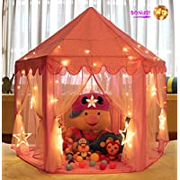 MonoBeach Princess Castle Tent Girls Large Playhouse Kids Play Tent with Star Lights Toys for Children Indoor and Outdoor Games, 55