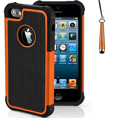 Stoßfest Hülle/Case für Apple iPhone 5 / 5s / SE / Absorberabdeckung & Displayschutzfolie / EJC Avenue / Rot Orange