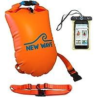 New Wave Swim Buoy for Open Water Swimmers - Nylon TPU Orange Schwimmboje für Openwater Schwimmer und Triathleten - Visible Float für Training und Wettkampf (Orange Nylon TPU)
