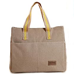 Canvas Insulated Lunch Bag 8Bees Gift Large Capacity Tote Solid Useful Grocery Bag School Outdoor Picnic Beige