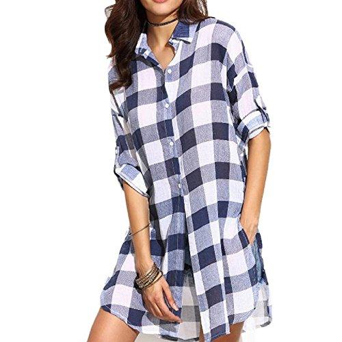 Maglietta,WINWINTOM Maniche Lunghe Donne Plaid Shirt Casual (L, Blu)